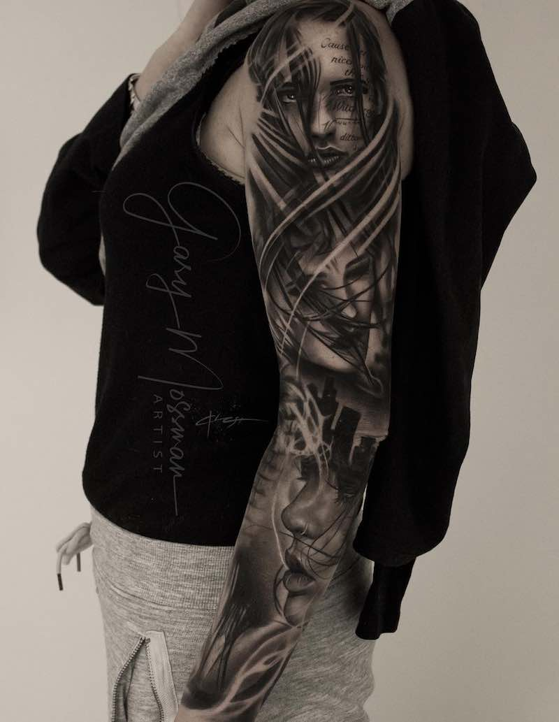 Womens Black and Grey Sleeve Tattoo by Gary Mossman
