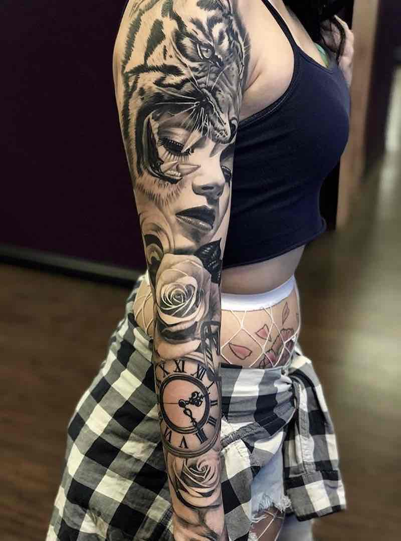 Womens Black and Grey Tattoo Sleeve by Andres Ortega