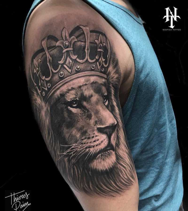 Lion with Crown Tattoo by Thieres Paim