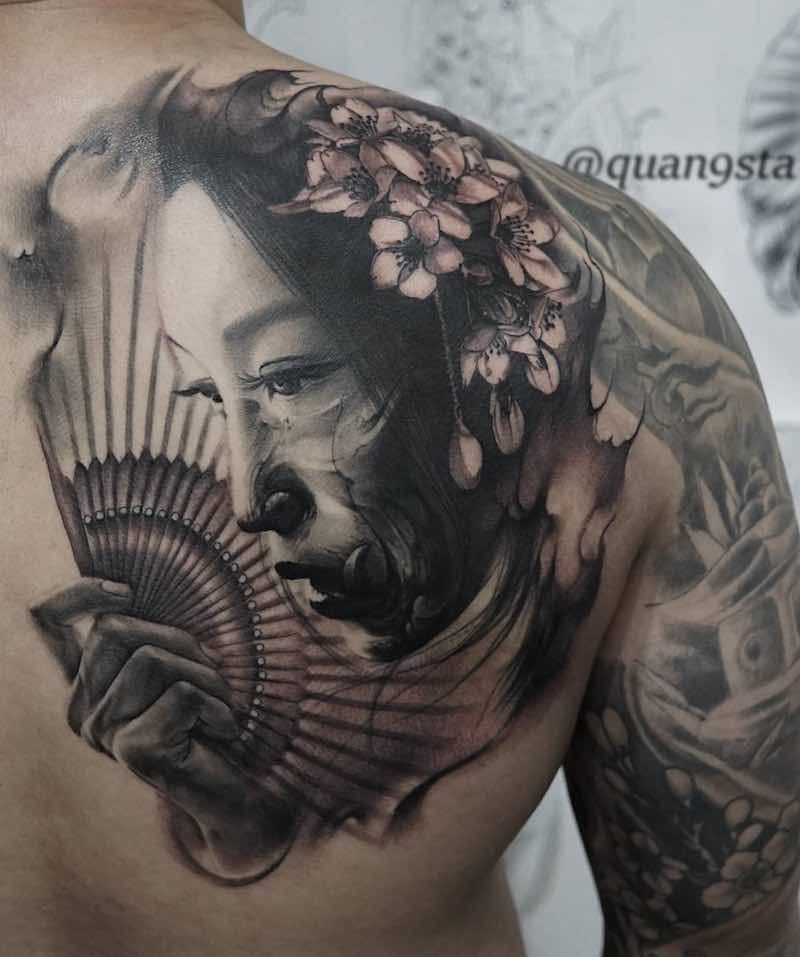 Shoulder Back Tattoo by Quang Sta