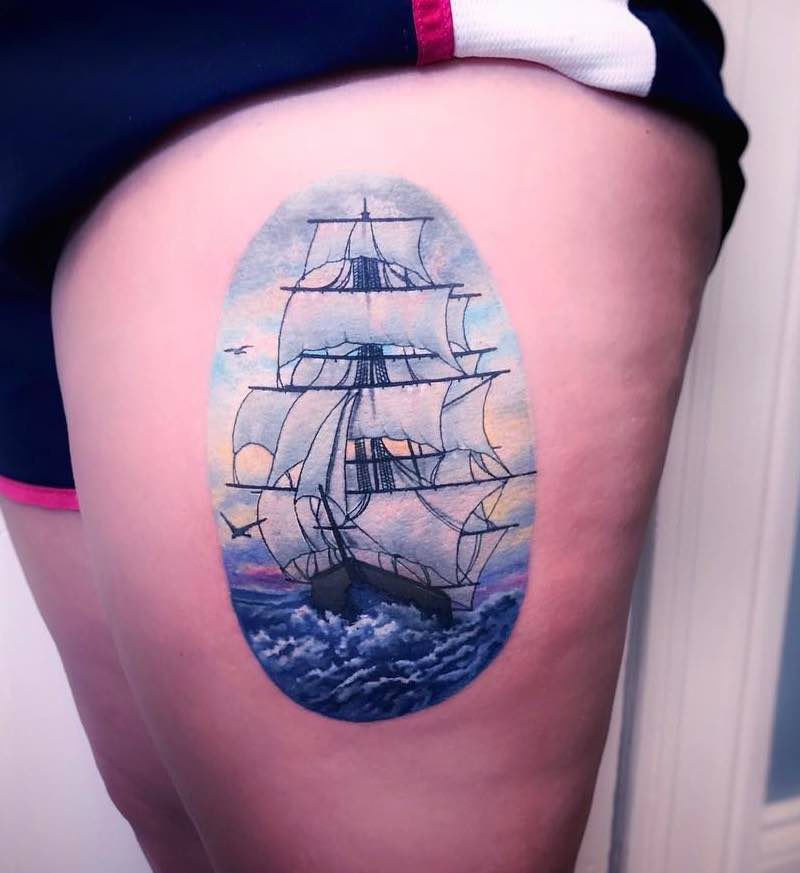 Ship Tattoo by Jeremy Sloo