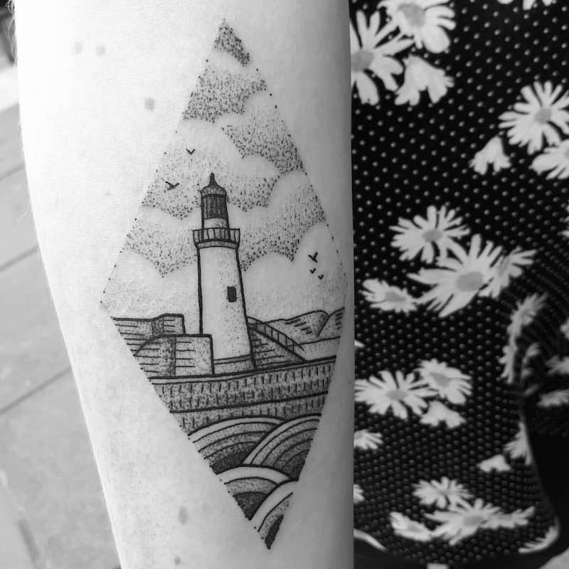 Lighthouse Tattoo by Jess Oxley