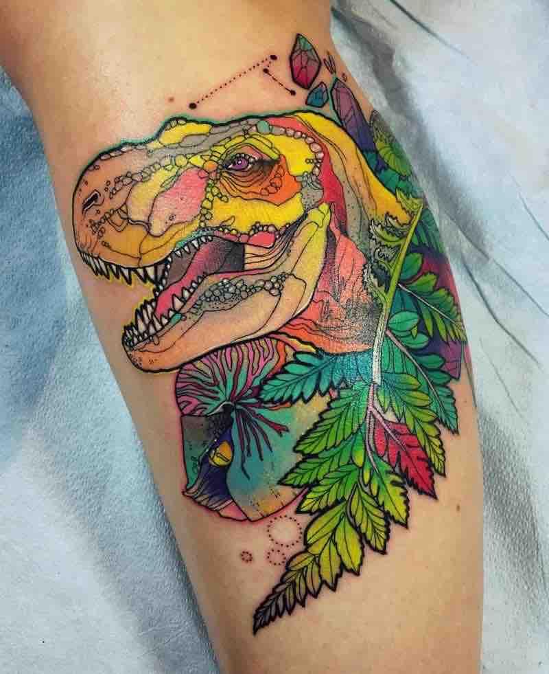 Dinosaur Tattoo by Katie Shocrylas