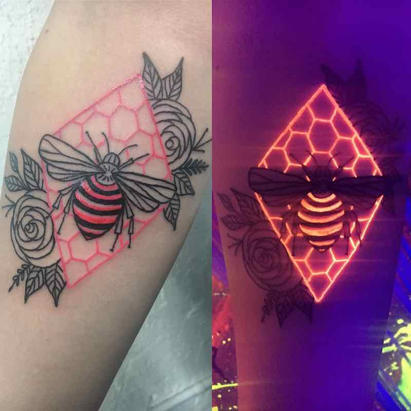 Bee 2 UV Tattoo by Kayla Newell