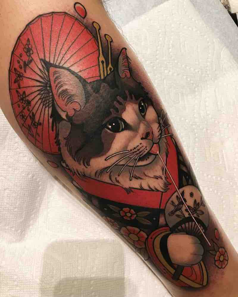 Cat Tattoo by Tiffer Wright