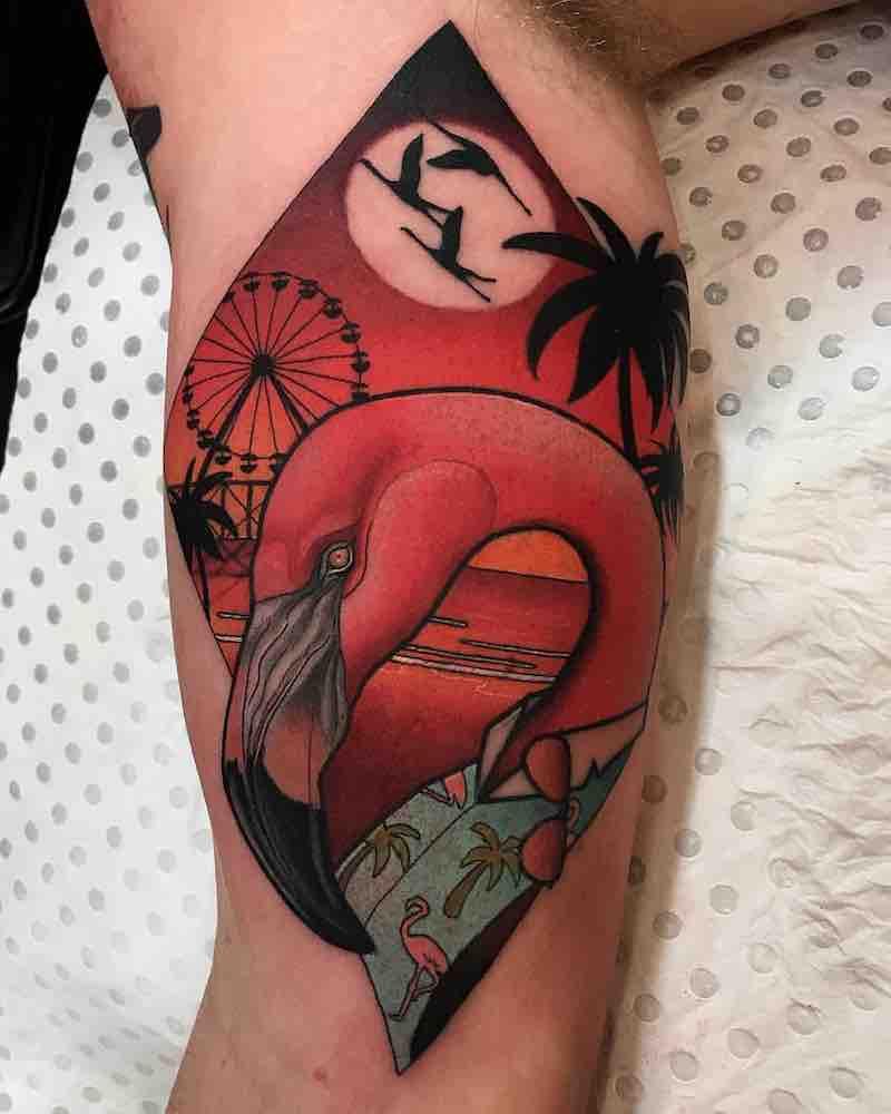 Flamingo Tattoo by Drew Shallis