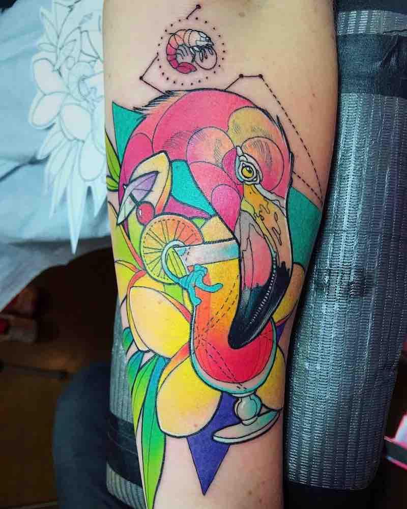 Flamingo Tattoo by Katie Shocrylas