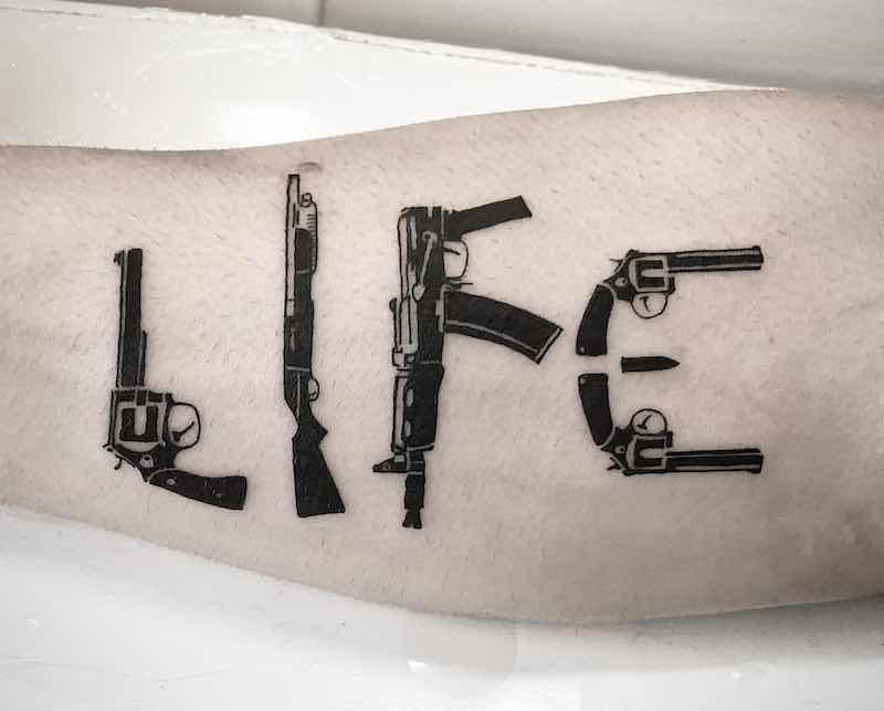Gun Tattoo by Joao Paulo Rohweder
