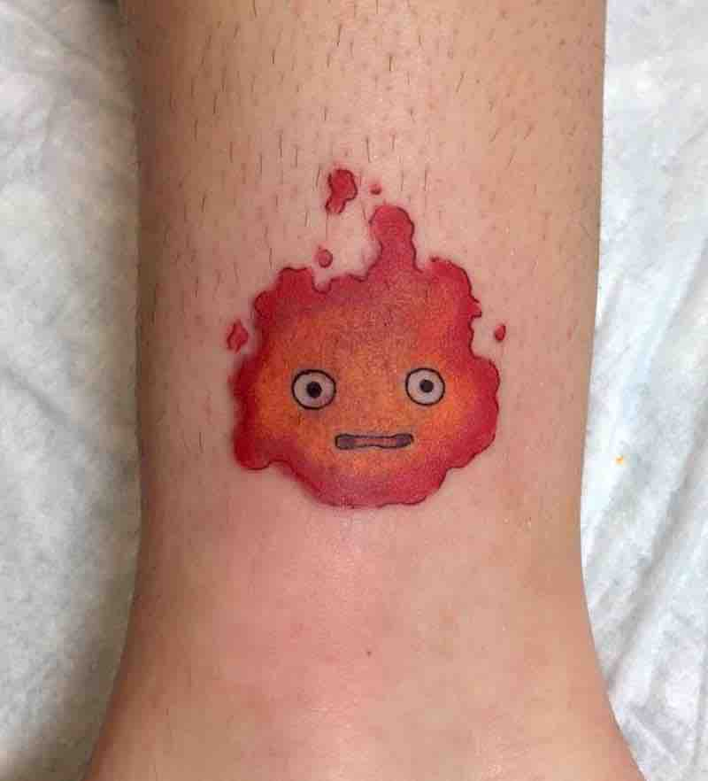 Howls Moving Castle Calcifer Tattoo by Kimberly Wall