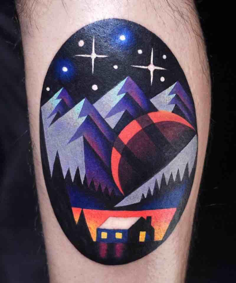 Landscape Tattoo by David Peyote