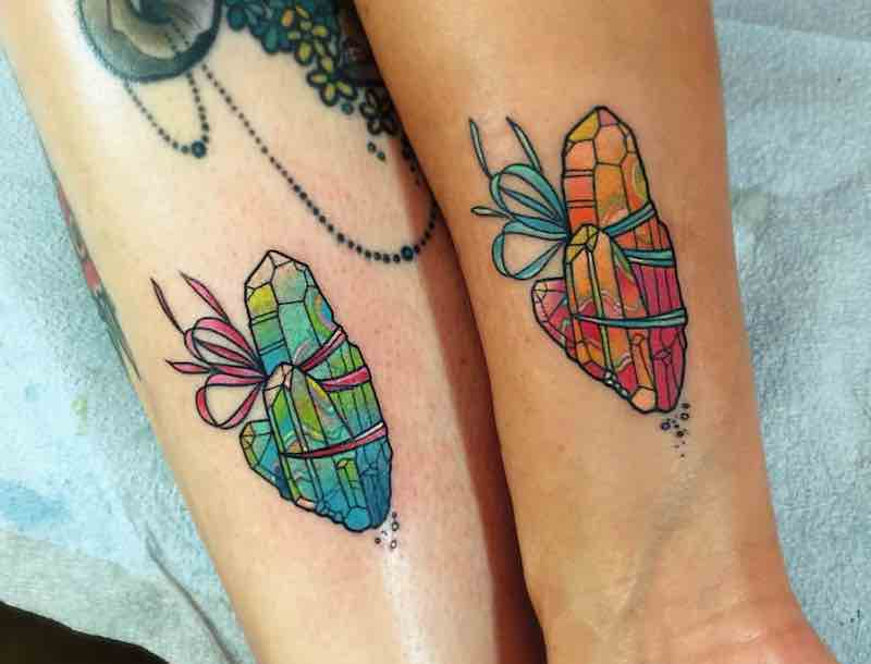 Matching Crystal Tattoos by Katie Shocrylas