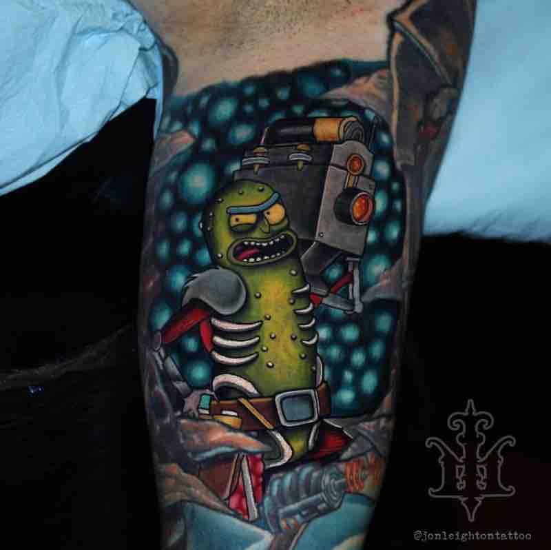 Mick and Morty Pickle Rick Tattoo by Jon Leighton
