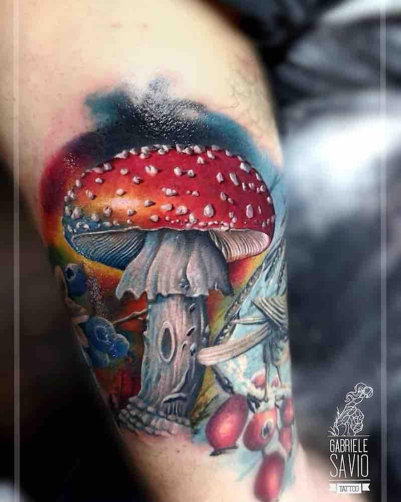 Mushroom Tattoo by Gabriele Savio