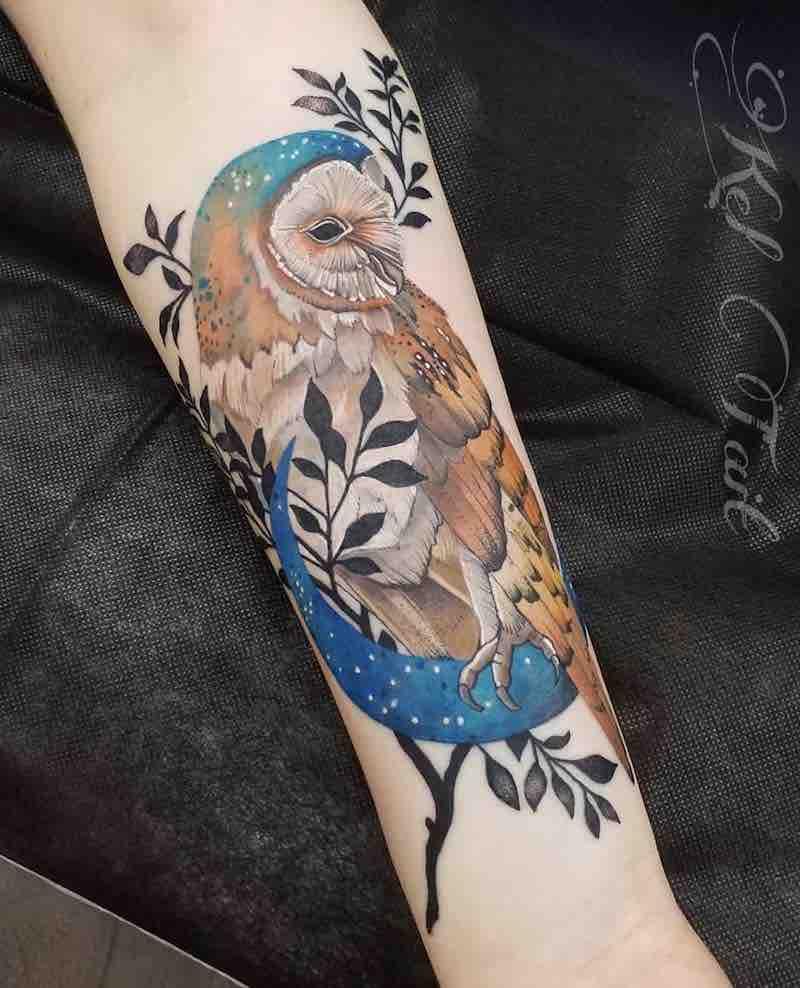 Owl Tattoo by Kel Tait