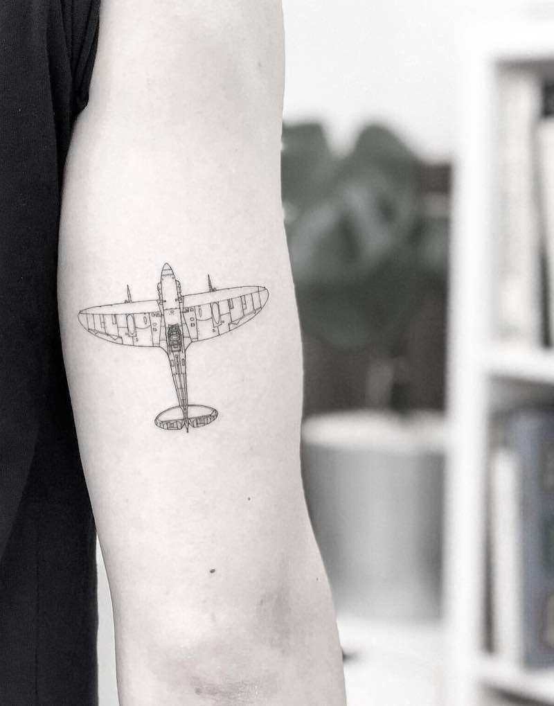 Plane Tattoo by Bacht