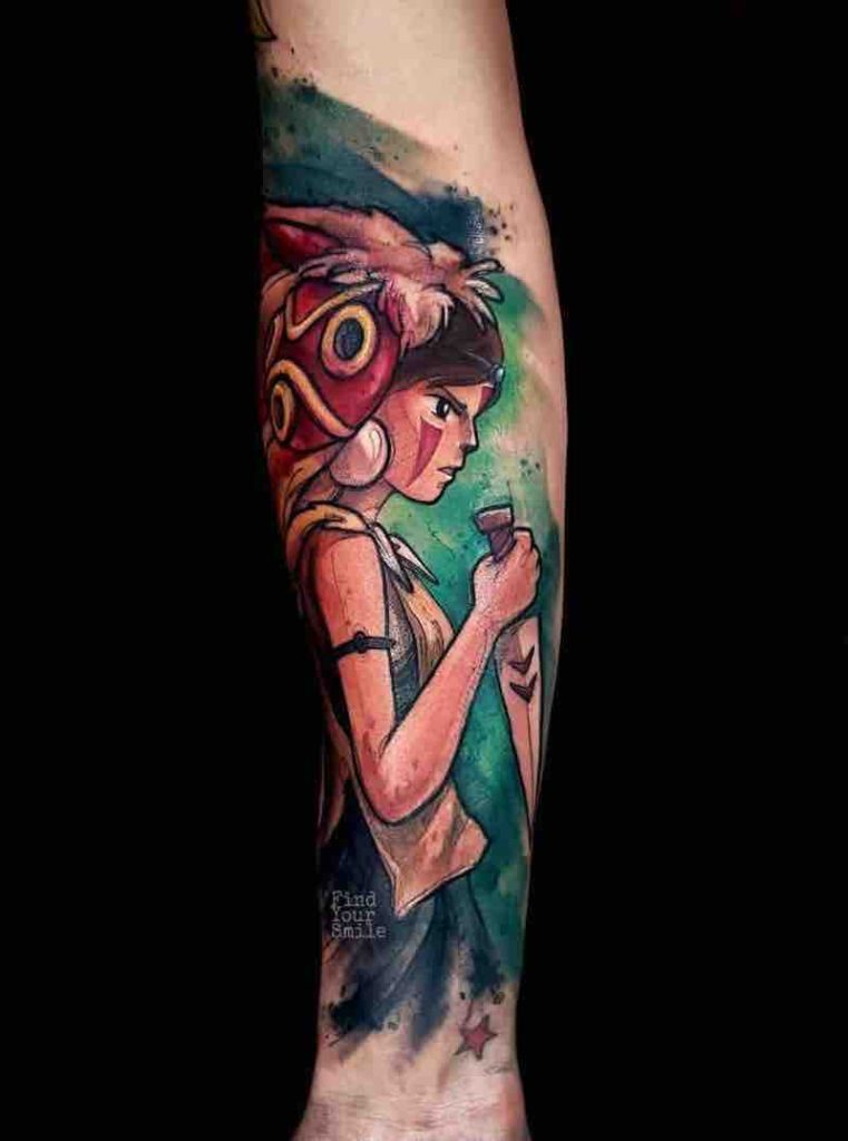 Princess Mononoke Tattoo by Russell Van Schaick
