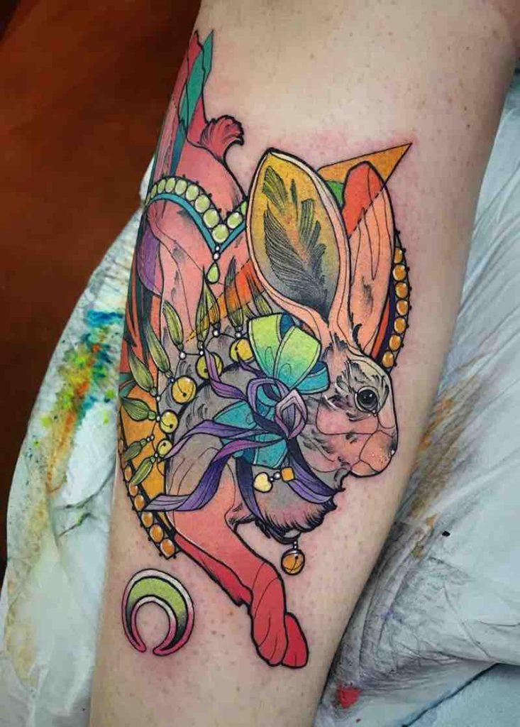 Rabbit Tattoo by Katie Shocrylas