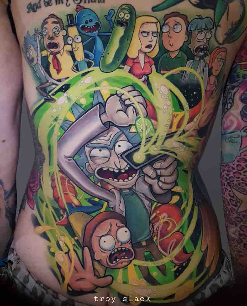 Rick and Morty Tattoo by Troy Slack
