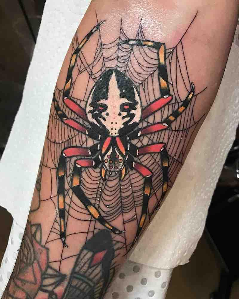 Spider Tattoo by Drew Shallis