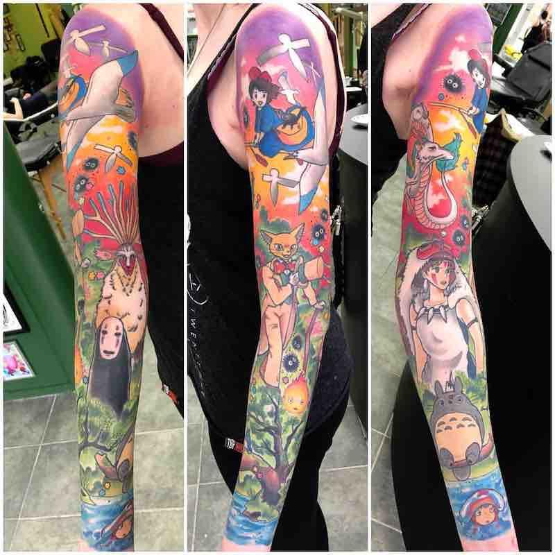 Studio Ghibli Sleeve Tattoo by Ashley Luka