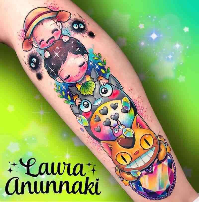 Totoro Tattoo 3 by Laura Anunnaki