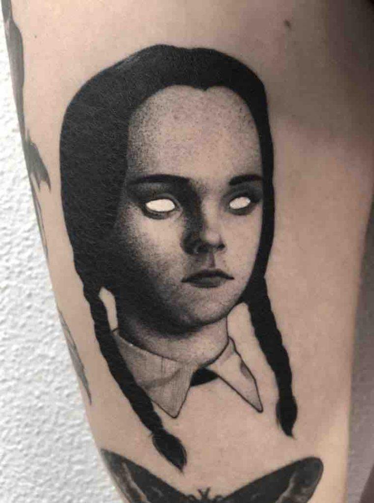 Wednesday Addams Family Tattoo by El UF