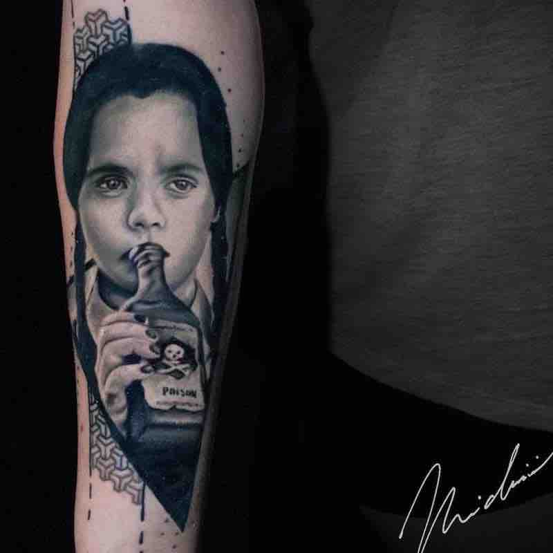 Wednesday Addams Family Tattoo by Michael Cloutier
