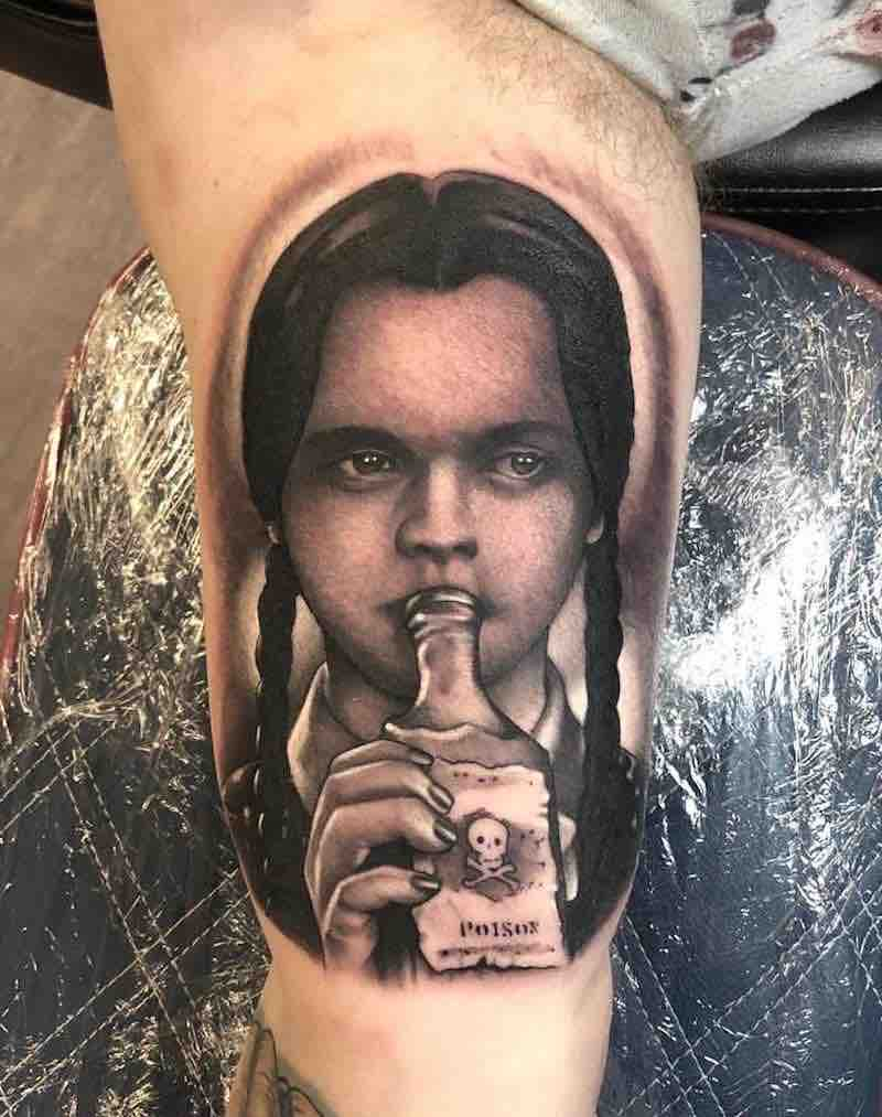 Wednesday Addams Family Tattoo by Rich Knight
