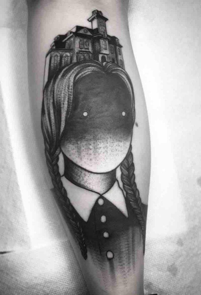 Wednesday Addams Tattoo by Alex Santaloci