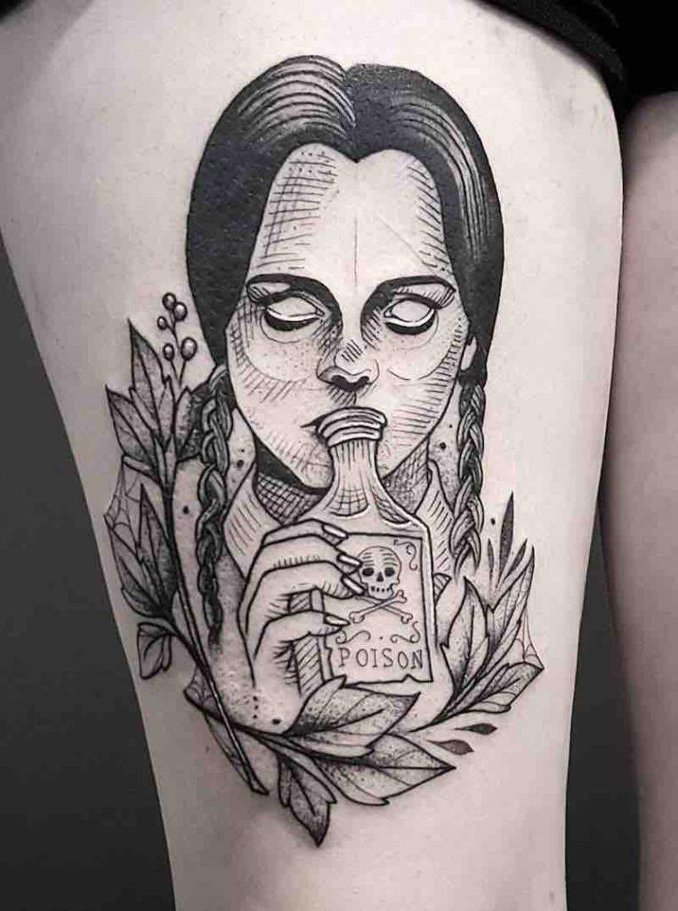 Wednesday Addams Tattoo by Cutty Bage