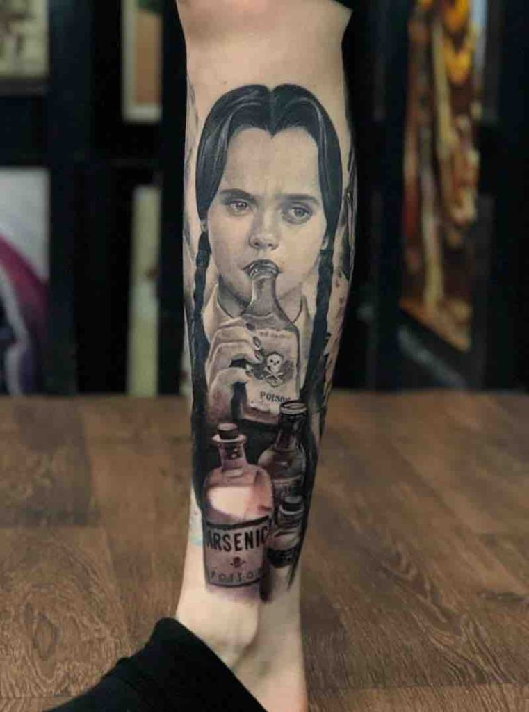 Wednesday Addams Tattoo by Samantha Ford