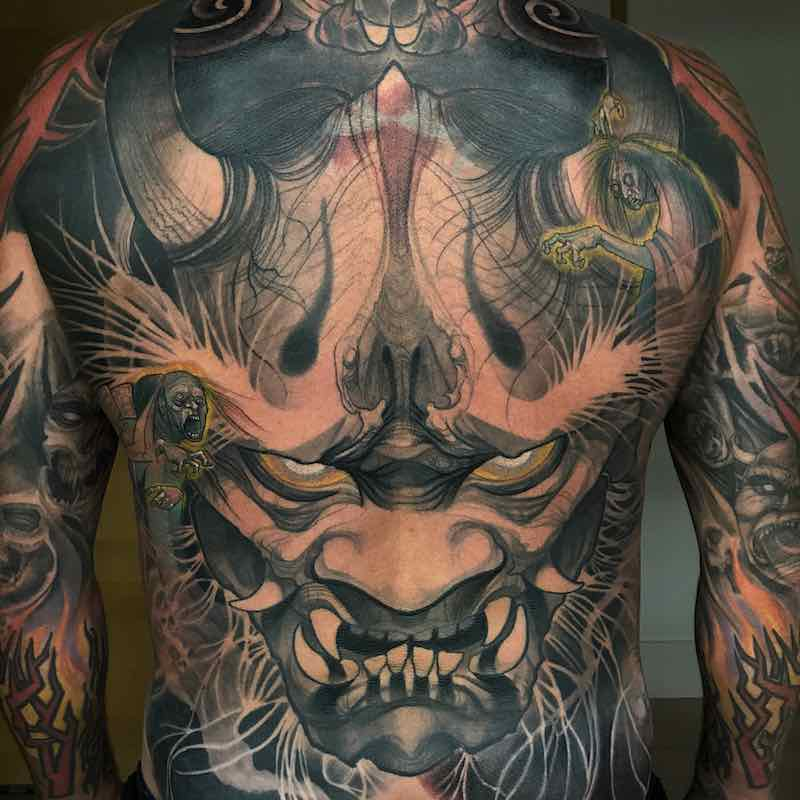 Mens Back Tattoo by Steve Moore