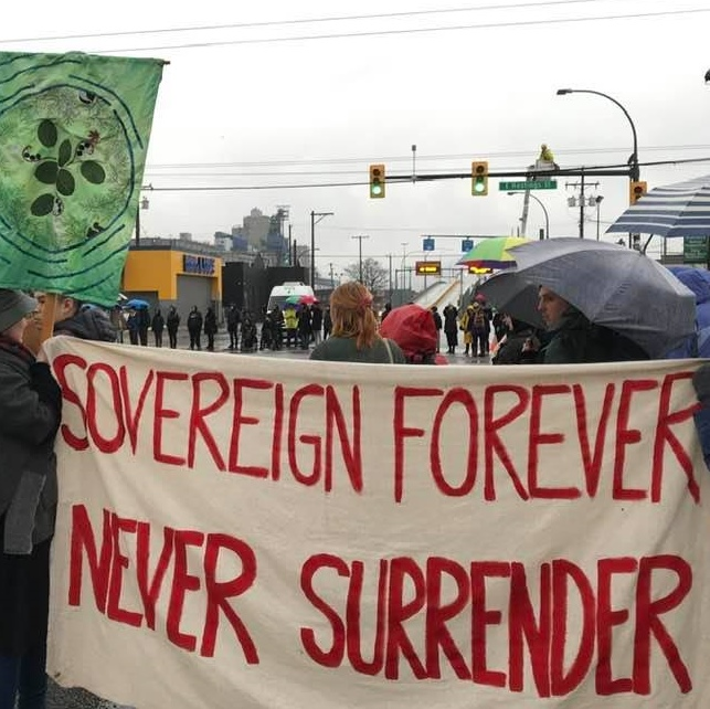 Indigenous solidarity: Sovereign Forever, Never Surrender!
