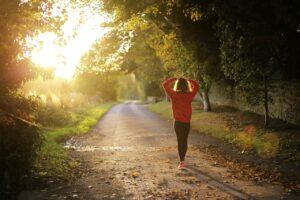 Walking Fitness Girl Dawn Fall