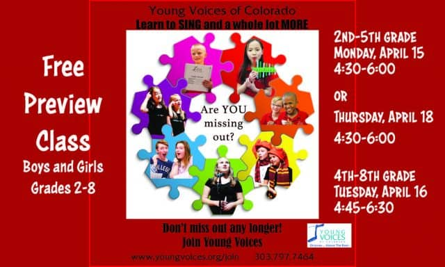 Free Preview Class @ Young Voices of Colorado Studios   Englewood   Colorado   United States