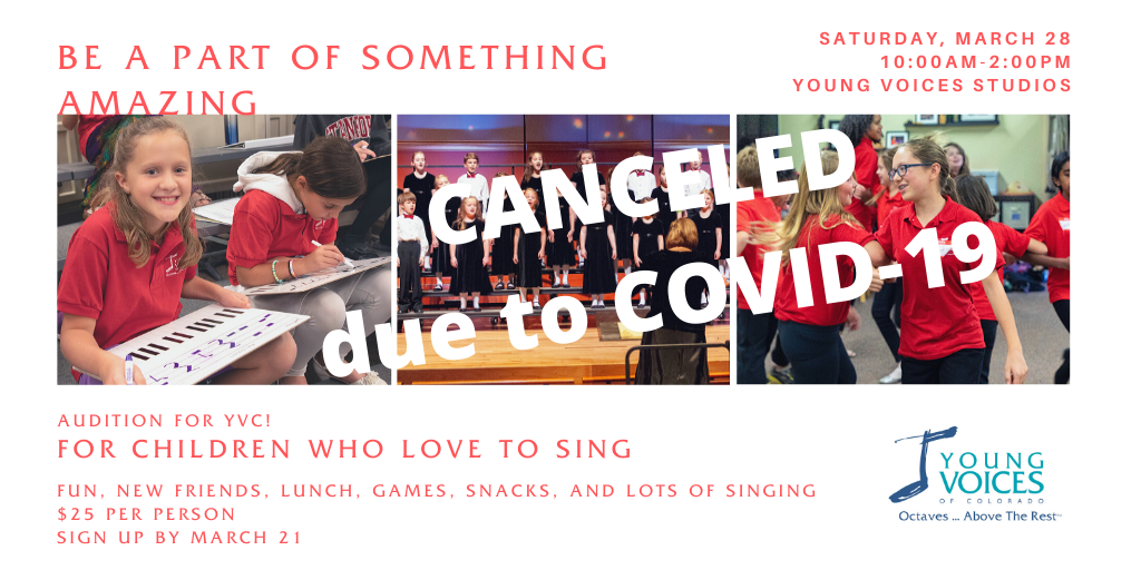 SpringSing 2020 - Workshop for Elementary Students CANCELLED @ Young Voices of Colorado Studios