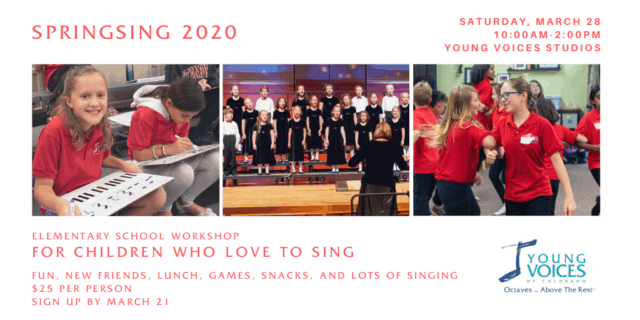 SpringSing 2020 - Workshop for Elementary Students Who LOVE to SING @ Young Voices of Colorado Studios