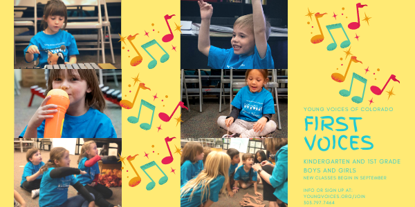 First Voices - Music Class for K-1 boys and girls - no audition but class size is limited @ Young Voices Studios