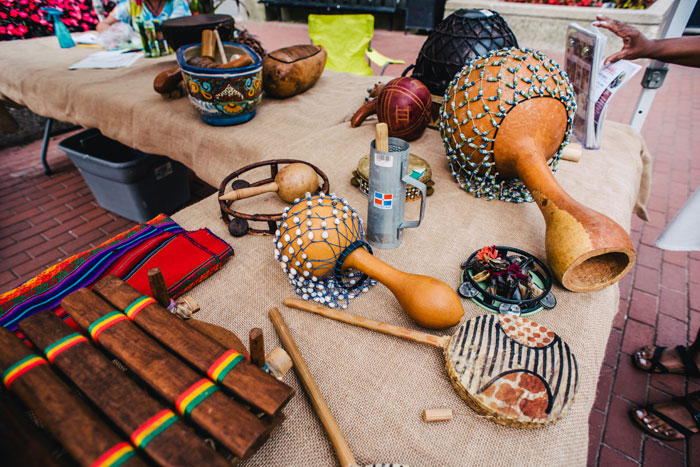 a collection of african instruments on the table