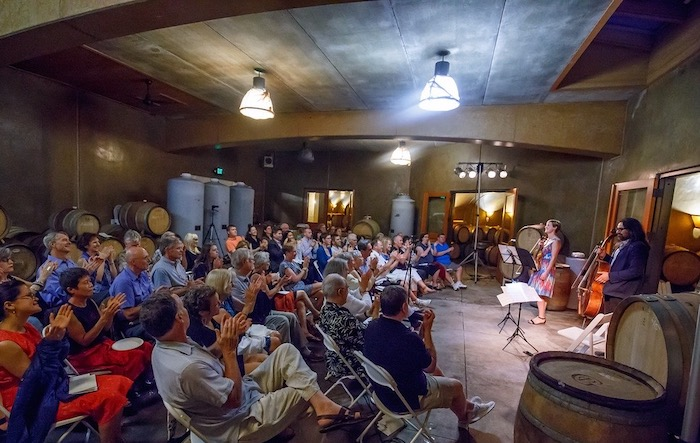 photo of chamber music concert in J Christopher winery barrel cave