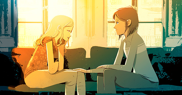 Illustration of two people sitting on a couch having a heart-to-heart talk