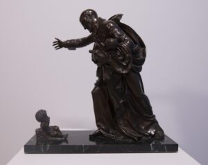 Cast bronze statuary group, mounted on green marble base 14 x 14 x 6 in.