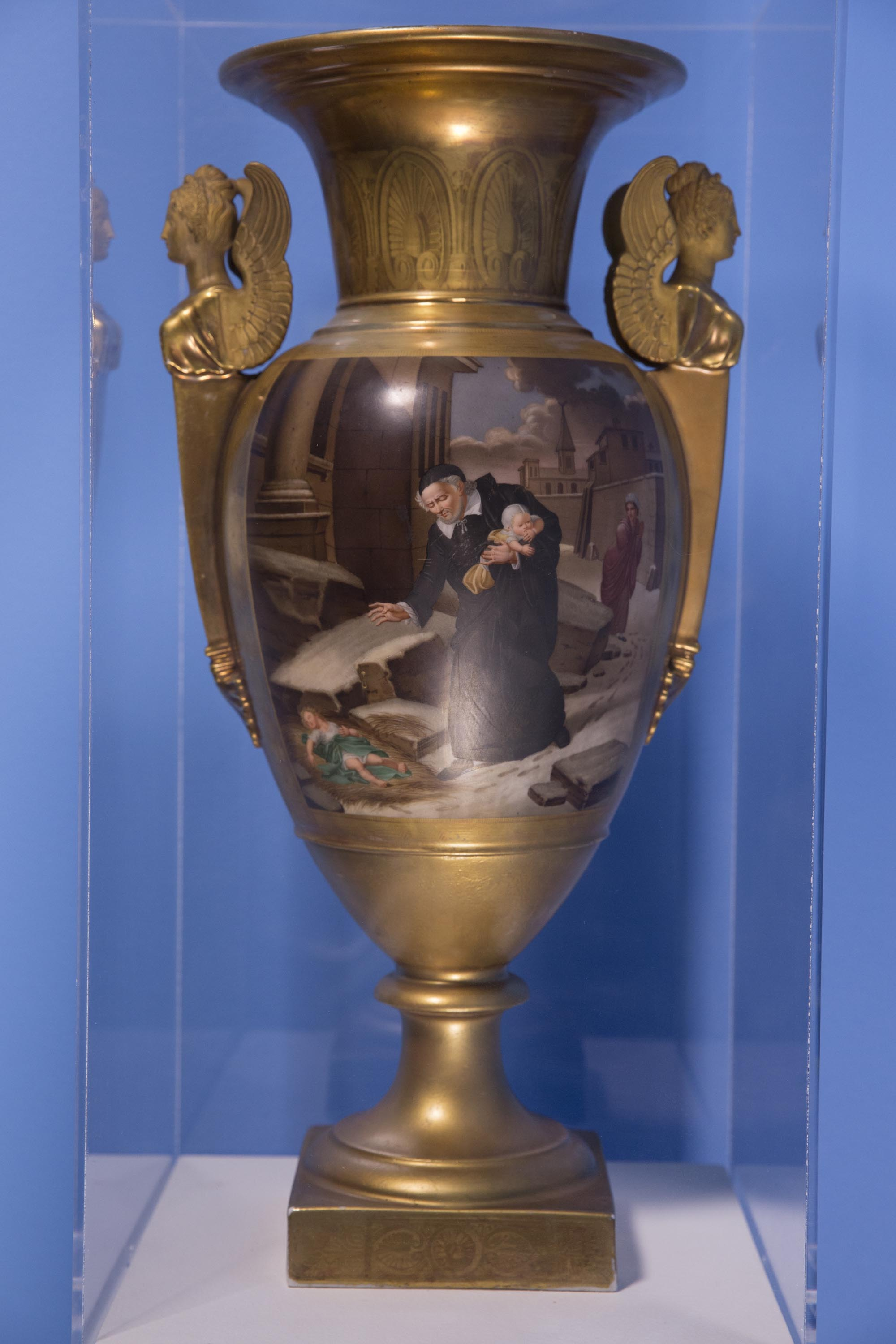 Gilded neoclassical urn, Sevres-type porcelain, with hand-painted copy of the iconic 1817 painting by Nicolas-Andre Monsiau (1754-1837) 22 x 6 x 10 in.