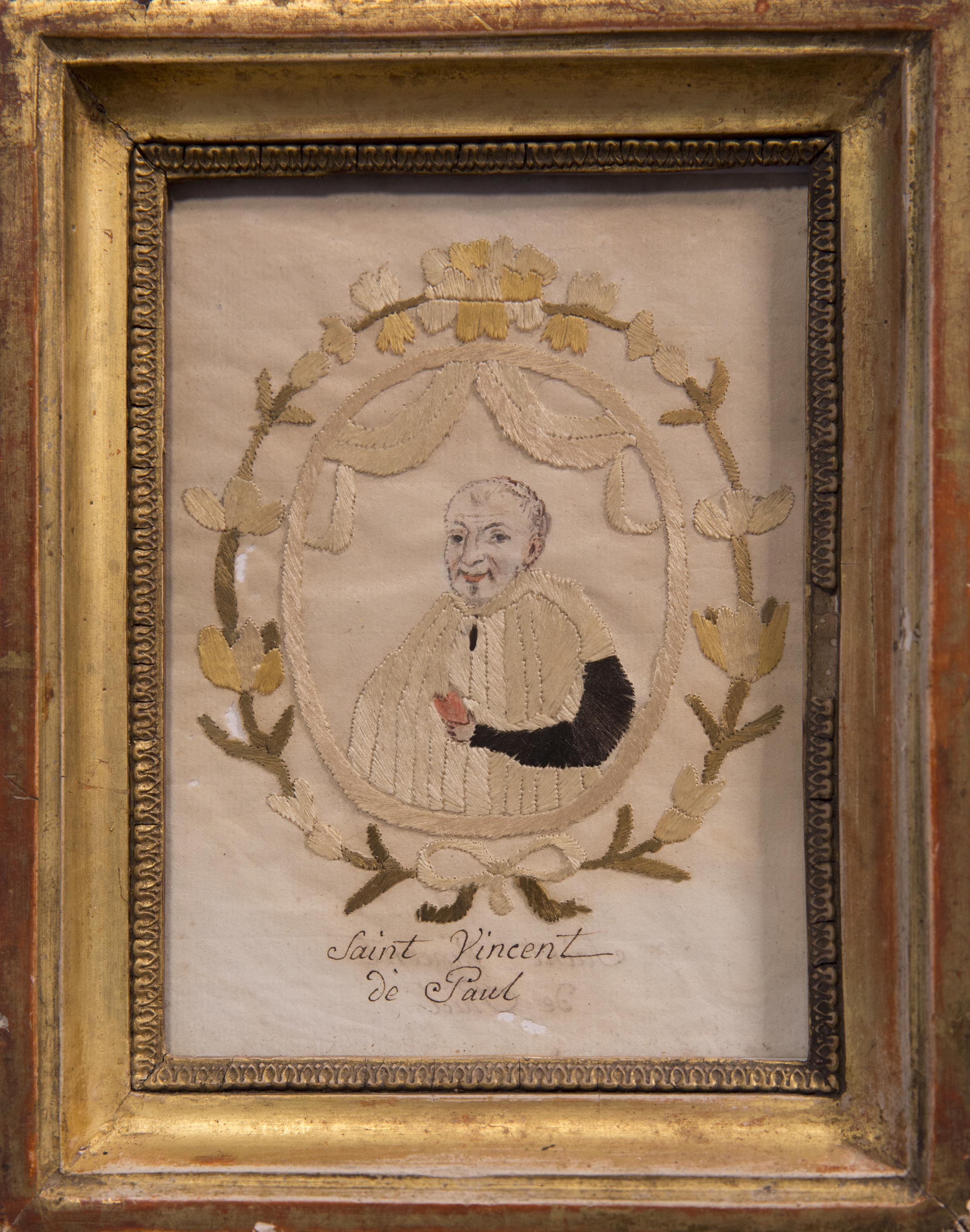 Rustic hand-embroidered portrait (silk thread embroidery decorating a hand-drawn portrait) in original gilded wooden frame 6 x 7 3/4 in.