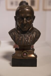 Cast bronze commemorative reliquary bust with marble base 22 x 13 x 7 in.