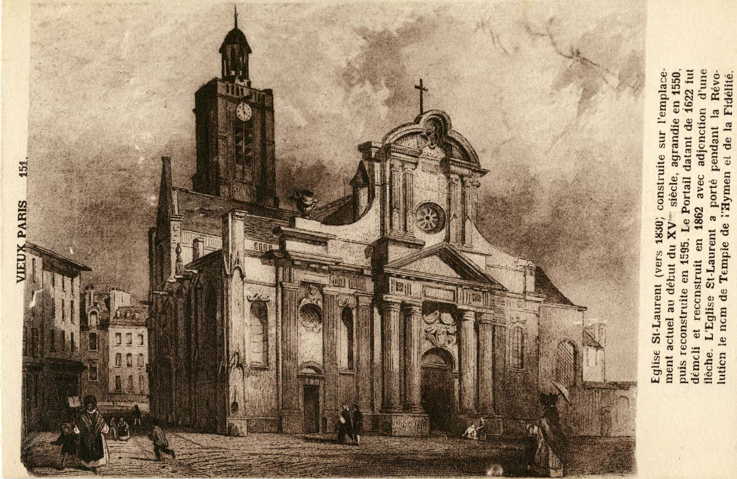 Sepia tone postcard featuring artistic rendering of the early façade with brief history of the church printed at right edge.