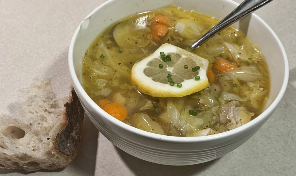 Lemon Chicken Soup with Cabbage