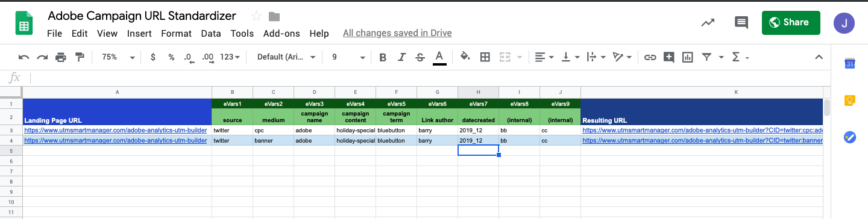 Adobe Analytics Campaign URL Builder Spreadsheet