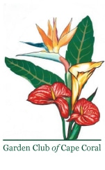 Garden Club of Cape Coral Logo Flower Arrangement with Text