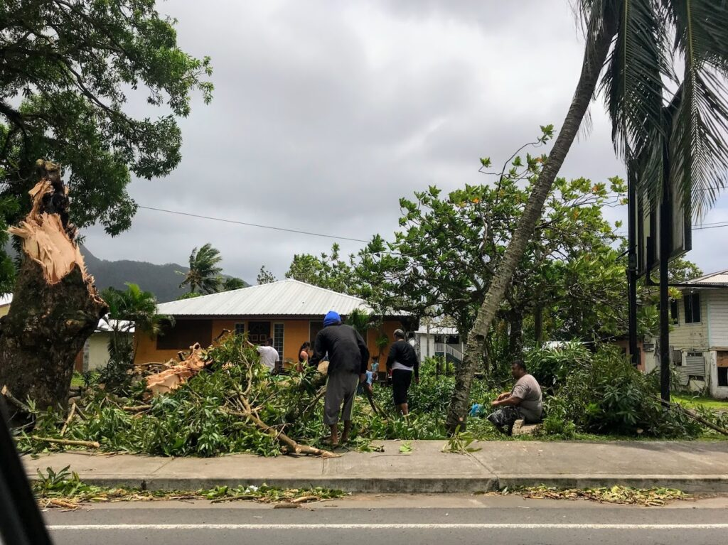 People Working to Cleanup from Cyclone Gita